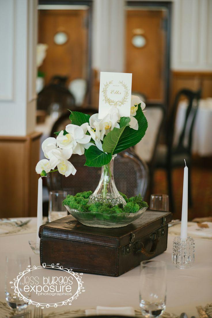 Vintage Table Decorations from My Wedding Day.  #VintageWedding #WhiteWedding #Moss