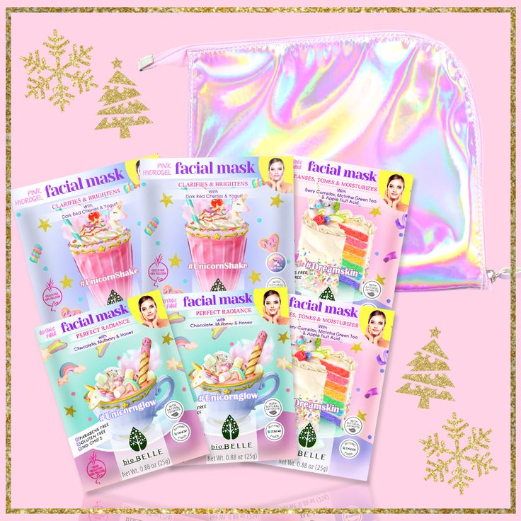 Like a party for your face! Turn up the glam and the glow with our new Unicorn 6-mask gift set! The Unicorn 6-mask set contains: 2 #UnicornGlow Perfect Radiance Sheet Mask 2 #DreamSkin Cleanses, Tones &Moisturizes Sheet Mask 2 #UnicornShake Clarifies & Brightens Pink Hydrogel mask 1 FREE Unicorn Pouch Using the unique botanic fiber Tencel®, Biobelle has designed a Unicorn Chocolate facial mask that boosts your radiance, illuminates your look and gives that #UnicornGlow! Enjoy t...