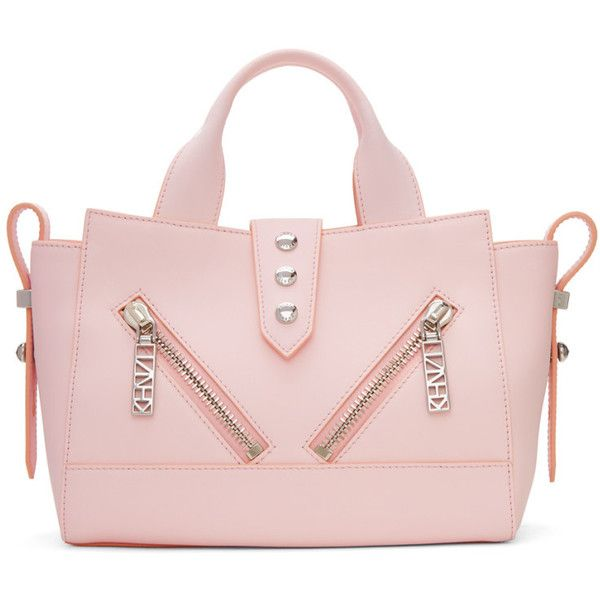 Kenzo Pink Mini Kalifornia Bag ($475) ❤ liked on Polyvore featuring bags, handbags, duffle bag, fold over purse, foldable duffle bag, zipper purse and studded handbags