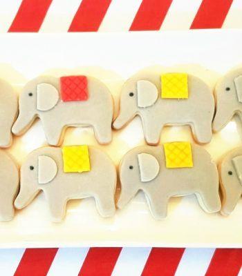 biscotti a forma di elefante per un compleanno con tema Circo