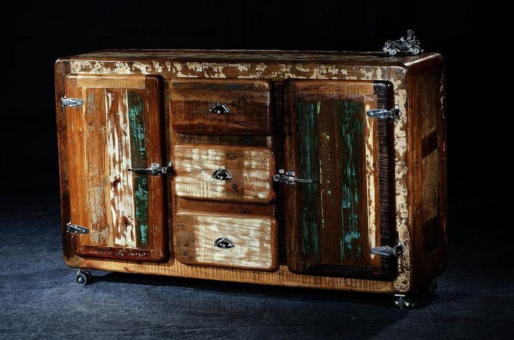 Dressoir oud hout kleurrijk beschilderd Chesterfield Dealz