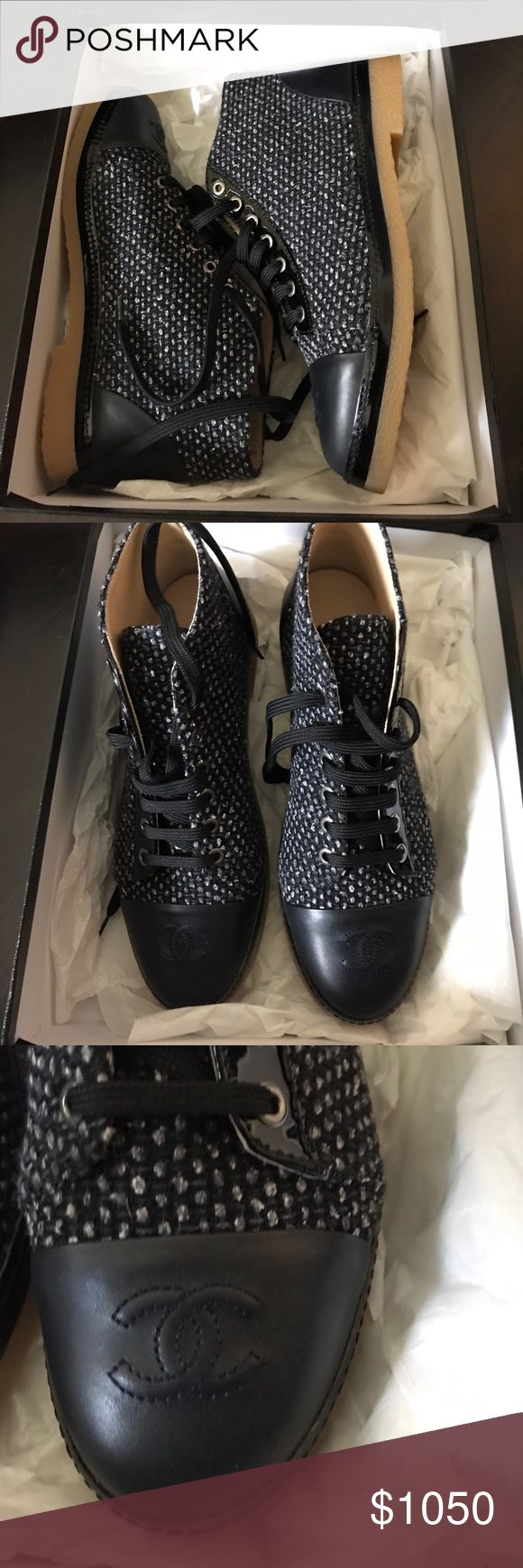NWT Chanel Lace Up Tweed Shoes - MSRP $1050 + tax Brand New! This is the price without tax which was $89.25. Purchased at Saks Fifth Avenue but also sold at The Chanel Store, Bergdorf Goodman and Neiman Marcus. Price is firm as I am losing over 20% plus tax on this item. Thank you. CHANEL Shoes