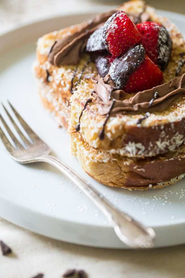 COCONUT WHIPPED CREAM BRIOCHE FRENCH TOAST WITH CHOCOLATE COVERED STRAWBERRIES