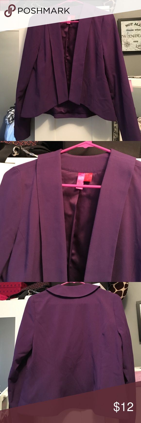 Purple blazer Adorable purple blazer! Asymmetrical front gives it a fun design. Polyester, rayon, spandex.   🚫No trades🚫  Check out my BOGO deal 🎉  Reasonable offers will be accepted through the offer feature❗️❗️❗️ Forever 21 Jackets & Coats Blazers