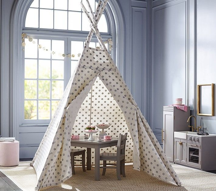 silver metallic dot teepee in a gorgeous grey girls room - Metallic Kids Room Interior