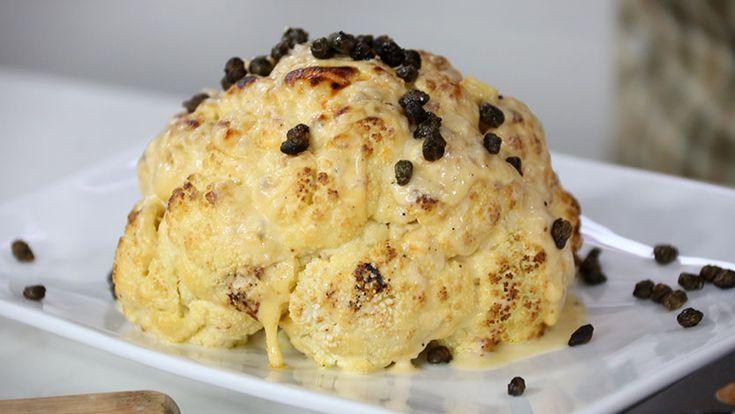Roast cauliflower with cheese sauce