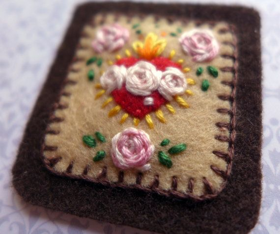 Embroidered Brown Scapular: Fawn Sacred Heart and Immaculate Heart with Pale Pink Rose Trio