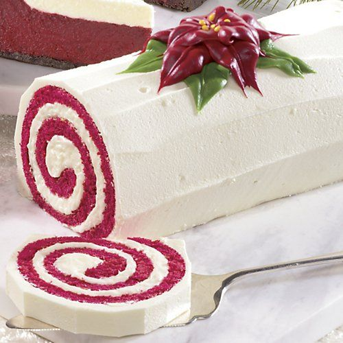 The Swiss Colony Red Velvet Swirl Cake....can make this yourself using red velvet cake in jelly roll cookie sheet like the pumpkin roll.
