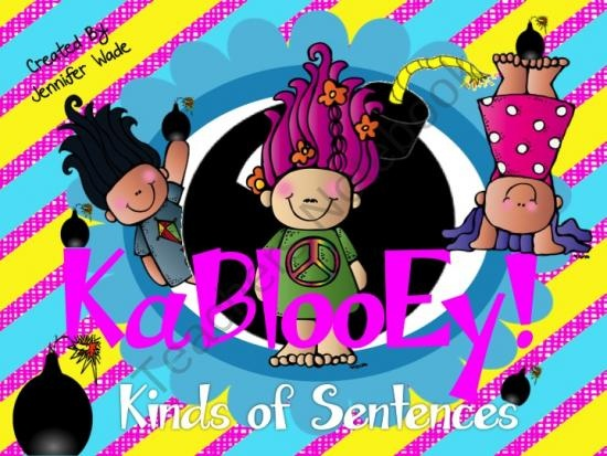 KaBlooEy!  Kinds of Sentences from Extra Energetic Educator on TeachersNotebook.com (21 pages)  - KaBlooEy! Kinds of Sentences is a fun game for students to practice recognizing kinds of sentences and end punctuation marks.
