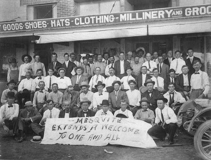 """TBT (1911) """"A Stake in the Prairie: Mesquite, Texas;"""" Shown are members of the 1911 Mesquite Trade Excursion as they prepared to promote Mesquite businesses in neighboring towns. Members gathered in front of McCullough's Store for the photo, taken by Frank Rogers."""
