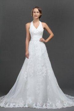 Robe de mariée grande taille col en V dentelle