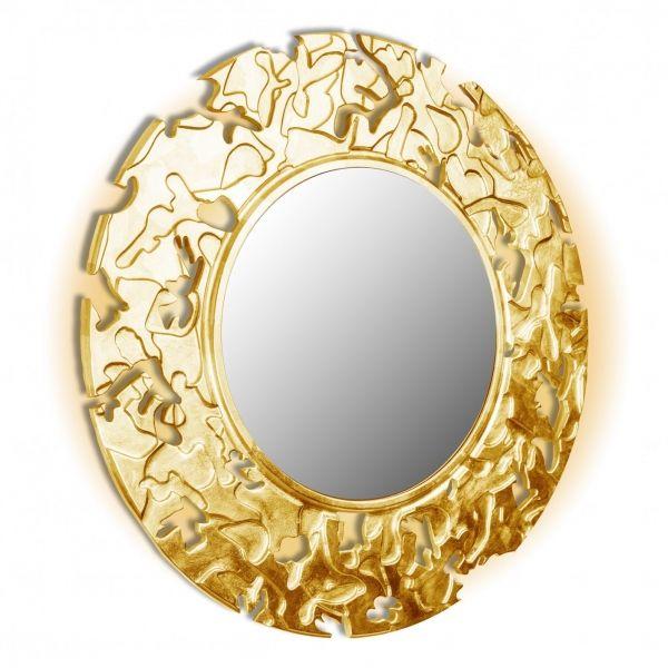 Camouflage Mirror - дизайнерское круглое зеркало в деревянной раме. Ручное декорирование.