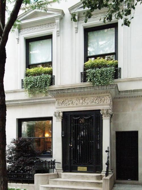 window box beauty...: Black Window, Black Doors, Home Exterior, Upper East Side, Front Doors, Flowers Boxes, Curb Appeal, New York, Window Boxes