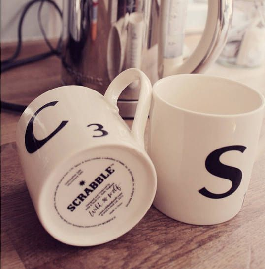 Scrabble mugs. I have 2 of these cups in the letters y and u, they are good quality and fun.