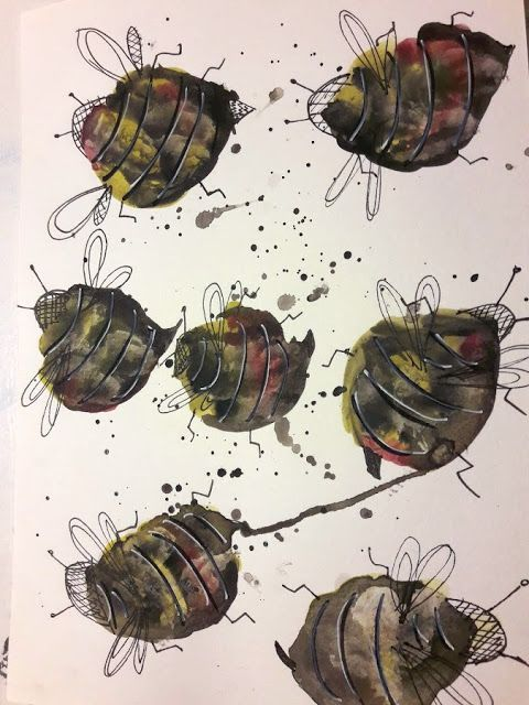 Fasters korthus: watercolour Bees