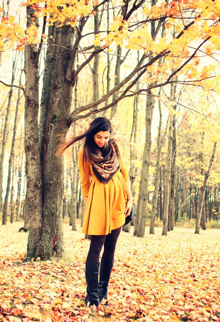 yellow dress, tights, scarf, and boots