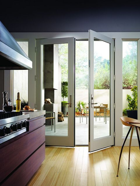 200 Series Hinged Patio Door   Inswing With White Finished Interior, Metro  Hardware Collection, Anvers Design   Satin Nickel Finish.
