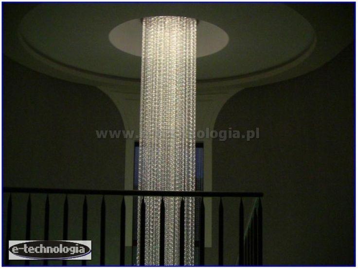Żyrandol światłowodowy Korona pod sufitem - fibre optics chandeler E-TECHNOLOGIA