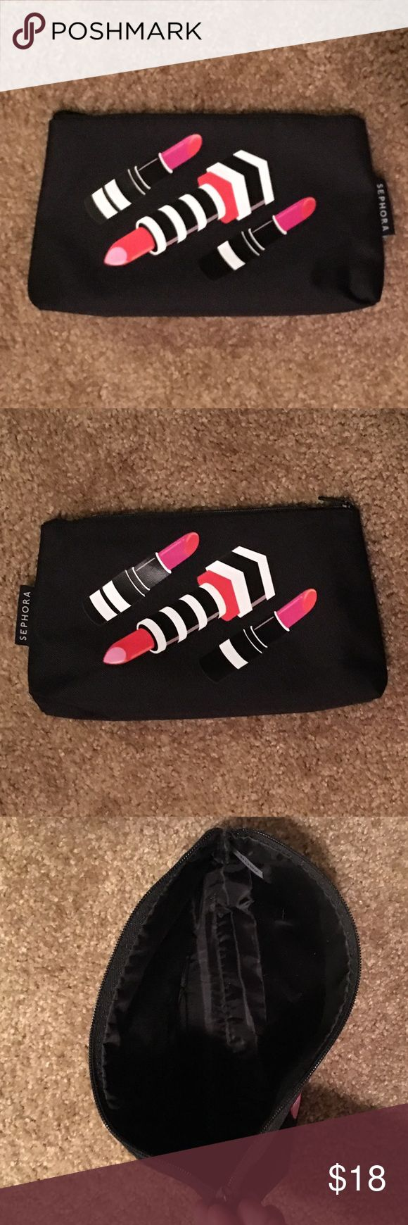 Sephora Lipstick Print Makeup Bag Brand New Never Used Sephora Brand Lipstick Print  Make-Up Bag with nylon interior Sephora Bags Cosmetic Bags & Cases