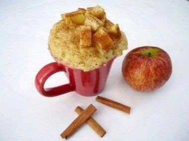 Bolo maçã caneca:1ovo ½pãoamanhecido4 colh(sopa) de leite2 colh(sopa)óleo 3 colh(sopa)farinha de trigo4 colh(sopa)de açúcar1 colher(café)fermento½ maçã peq.picadaCanela póDesmanche o pão em pouquinho de leite.Reserve.Coloque o ovo na caneca e bata co garfo.Adicione o óleo, o pão desmanchado, o leite e o açúcar.MistureAcrescente a farinha e o fermento e misture Adicione a maçã,canela e mistureLeve p assar no micro-ondas,3 minutos,potência alta.