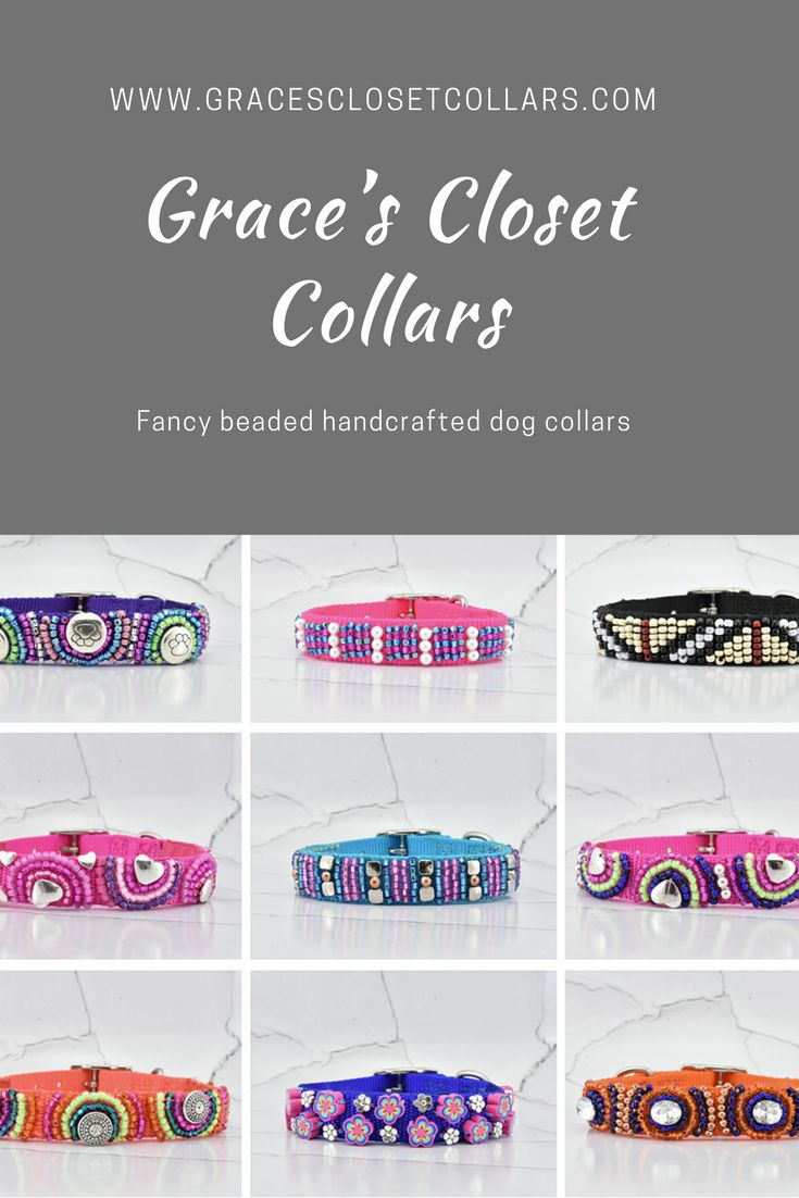 Couture luxury dog collars for fashion-forward pups everywhere. Inspired by glitz and glam, your pooch will be the trendiest on the street. Check out our many styles available at www.GracesClosetCollars.com