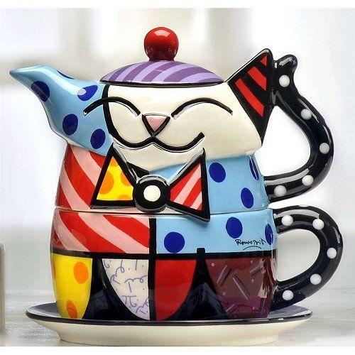 Romero Britto Cat Teapot for One