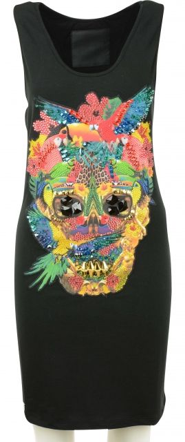 Conny Dress with multicolor print and decorations by Philipp Plein