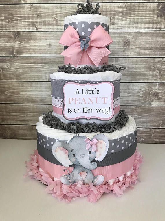 Eine kleine ERDNUSS ist unterwegs Windeltorte Elefant … – #babyshower #cake #Diape …   – Windeltorte basteln