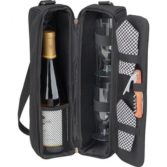 Bolsa para garrafa de vinho - acompanha 2 taças de acrílico, 2 guardanapos e saca rolhas - Preta - Amantes do Vinho - Casa e Cozinha