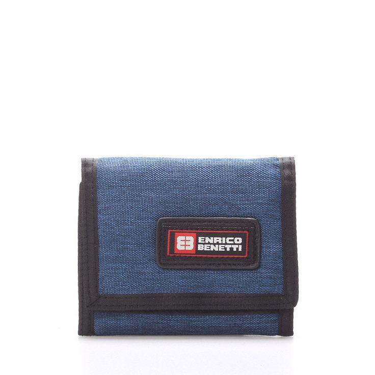 #peněženka Praktická látková rozkládací peněženka Enrico Benetti v tmavě modré barvě. Uvnitř přihrádka na zip na drobné, na karty, doklady, bankovky. Uzavírání je na suchý zip. Materiál pevný textil. Novinka!