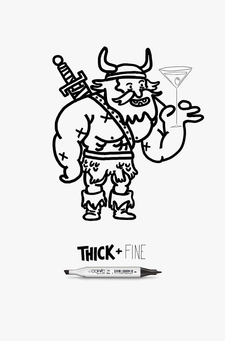 A Viking and his Martini in this ad from FCB Chicago, USA, for Copic Thick+Fine marker pens.