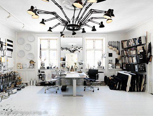 Life in Monochrome {A danish artist studio}Artists Studios, Lights Fixtures, Studios Spaces, Art Studios, Black And White, Offices, Work Spaces, Workspaces, Black White