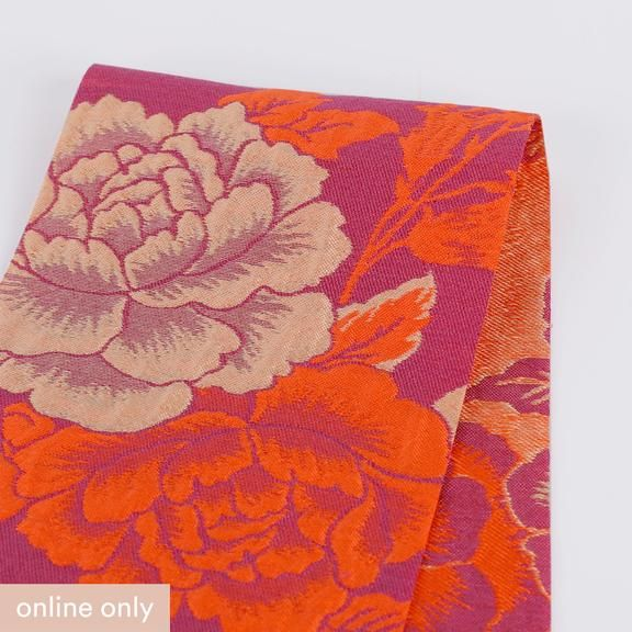 Jacquard Silky Soft Floral Leaves Sprigs Dressmaking Fabric in Magenta Pink