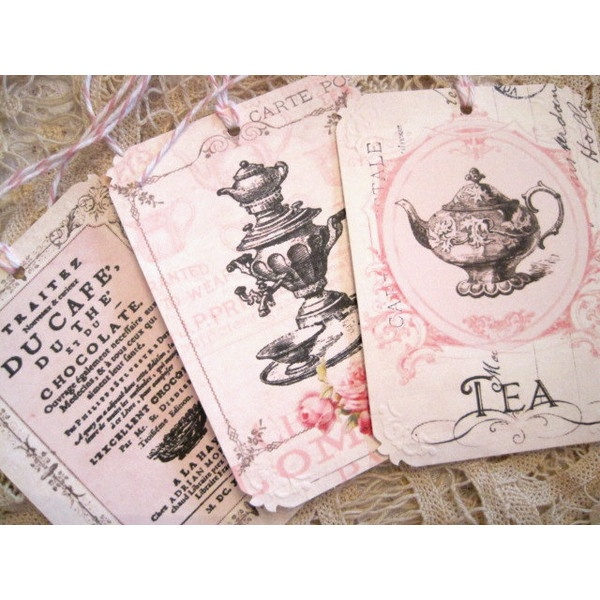 Shabby French Cafe Gift Tags No 81 - Tea Party - Roses - Vintage - Victorian - Paris - Pink - Embossed - Buy Three Get One Free found on Polyvore
