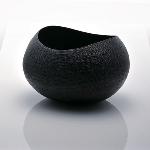 Coil Vessel by Ken Noguchi made from lacquer, hemp and paper string