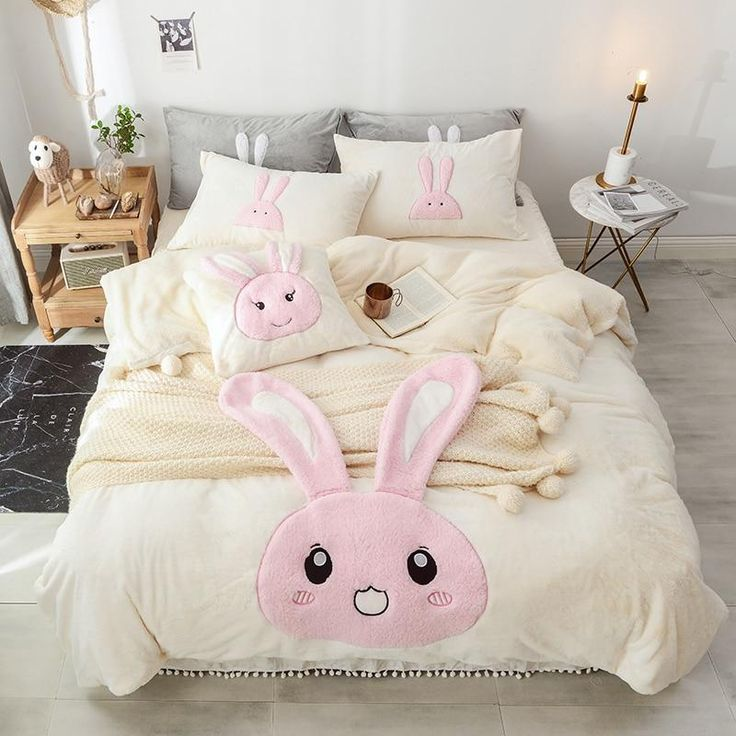 Cartoon Rabbit Duvet Cover Bedding Sets In 2019 Bed
