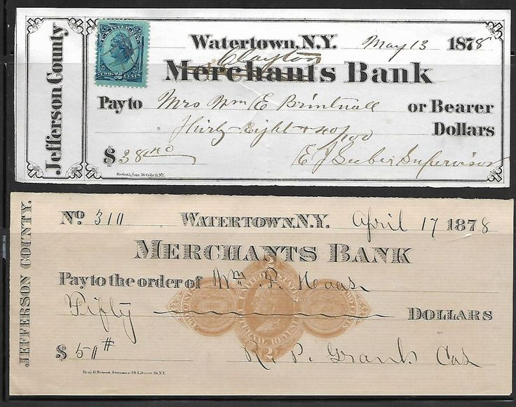 2 1878 Watertown New York Merchants Bank Check W/Revenues - 2c - Scott#: R152