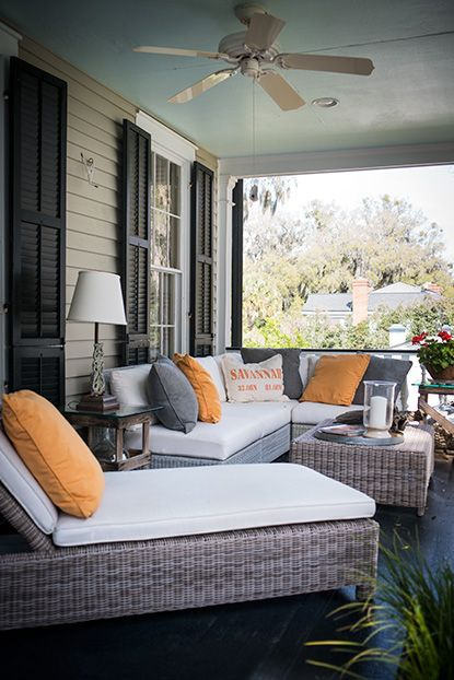 A modern Lowcountry porch. #savannah #southernhomes #gardenandgun Photo Credit: Imke Lass.