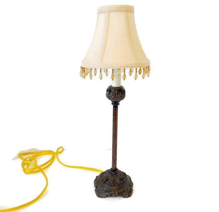 french country vintage lamp with beaded fringe lamp shade midcentury table lamp farmhouse lamp wood look onoff cord country chic shade - Lamp Shades For Table Lamps