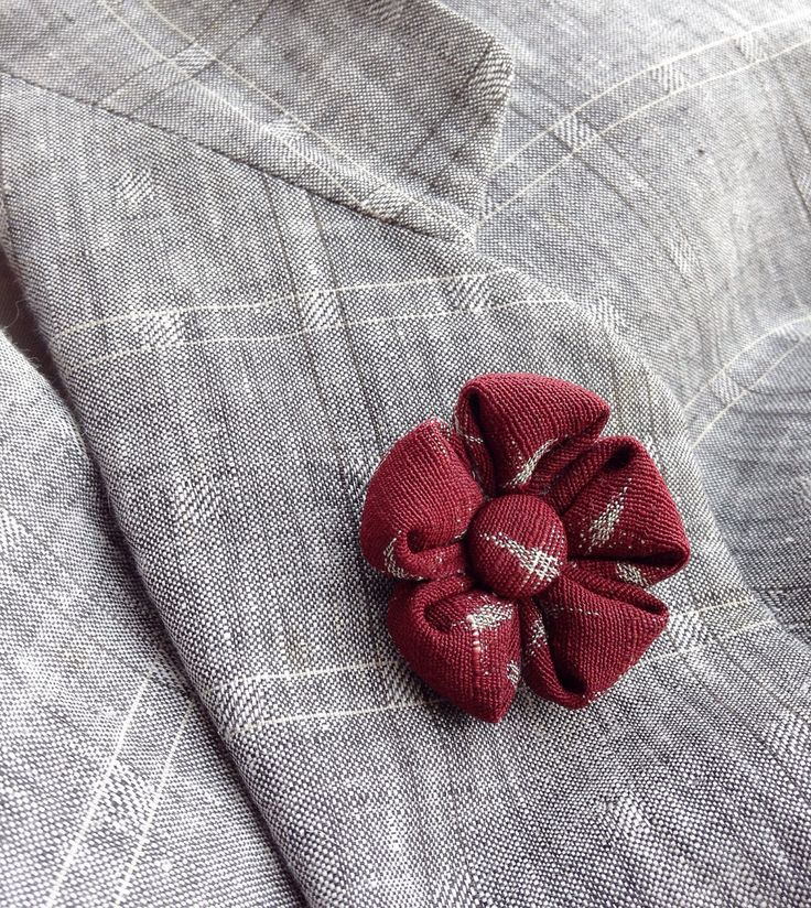 Mens Lapel Pin Flower Lapel Pin Silk Lapel Flower Maroon Boutonniere Custom Lapel Pins Men Boyfriend Gift For Him Kanzashi Pin Suit Pin by exquisitelapel on Etsy https://www.etsy.com/listing/514737597/mens-lapel-pin-flower-lapel-pin-silk