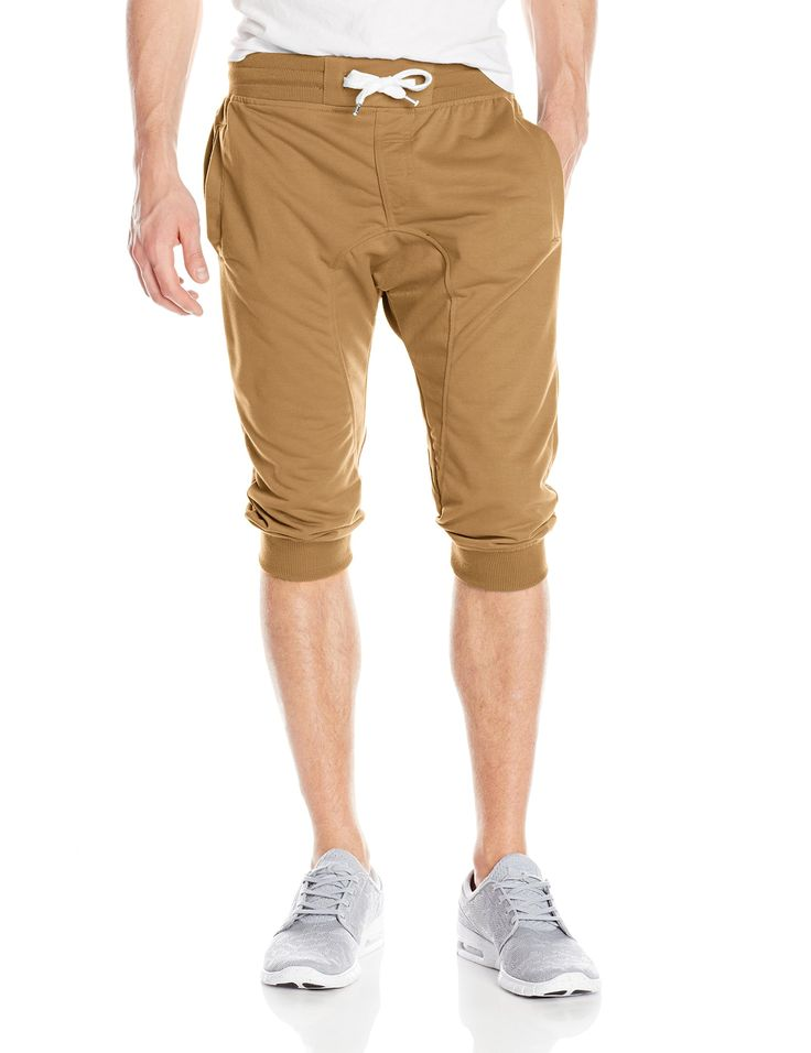Southpole Men's Jogger Capri Pants Basic Solid Colors In 3/4 Length, Wheat, Large
