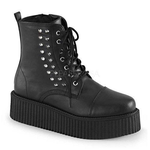 V-Creeper-573 heren schoen met schoenveters en studs mat zwart - Vegan Emo Gothic