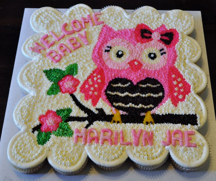 Owl inspired baby shower Cupcake Cake by Summer's Sweet Treats