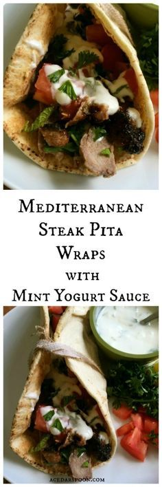 Mediterranean Steak Pita Wraps with Mint Yogurt Sauce adds protein and flavor to your lunch or Memorial Day BBQ.  The steak is marinated in yogurt and grilled, wrapped in a pita with a lemon hummus spread, mint yogurt sauce, diced tomatoes and fresh parsley. // A Cedar Spoon #ad