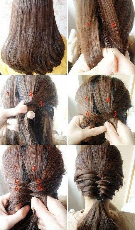 Verschiedene Und Einfache Frisuren Flechten Chignon Haare