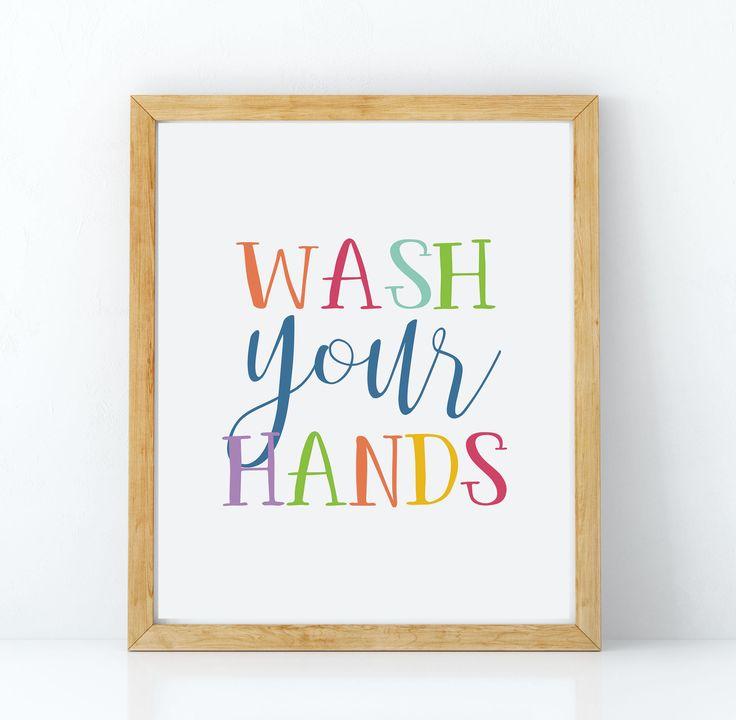 Lave sus manos signo arte de pared de baño de los niños, arte baño divertido, impresiones de cuarto de baño de los niños, señales de baño de los niños, decoración de pared de baño de los niños, baño de arte de PrintableArtWishes en Etsy https://www.etsy.com/es/listing/521069871/lave-sus-manos-signo-arte-de-pared-de