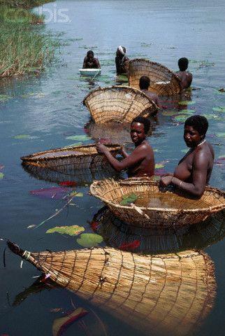 Mujeres Humbukushu pescando, Río Okavango - Botswana