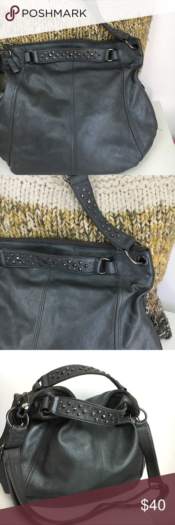 """Banana Republic Alex Hobo CrossBody Bag Banana Republic """"Alex"""" Large Hobo Crossbody Shoulder Bag with Studded Handles and Adjustable Strap.   Height 16"""" Width 15"""" Gorgeous Color is Gunmetal with a faint shimmer. Made of premium soft Goatskin leather."""" There is an area of multiple tiny nicks on front and back(shown) otherwise nice clean condition.  Please ask any questions before purchase.  👍OFFERS Welcome 🚫no trades pls Banana Republic Bags Hobos"""