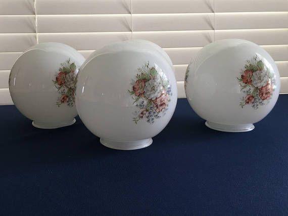 Vintage Set of 4, Milk Glass Floral Globes, Lamp or Ceiling Light Covers, Vintage Lamp Globes, Hanging Light, Painted Milk Glass