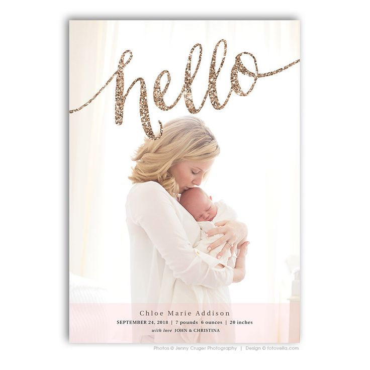 Birth Announcement Card Photoshop Template - BABY CHLOE - 1459 by FOTOVELLA on Etsy https://www.etsy.com/listing/241792823/birth-announcement-card-photoshop